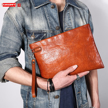Men's Handbag Leather Clutch Bag Men Leather Clutch Bag Soft Leather Casual Personality Simple Large Capacity Envelope Bag