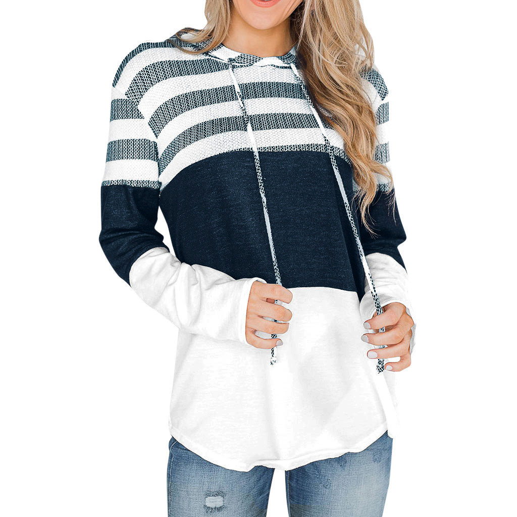 Women's Sweatshirt Striped Long Sleeves Drawstring Harajuku Light Pink Pullovers Tops O-neck  Hooded Autumn 2019 Tops #YL5