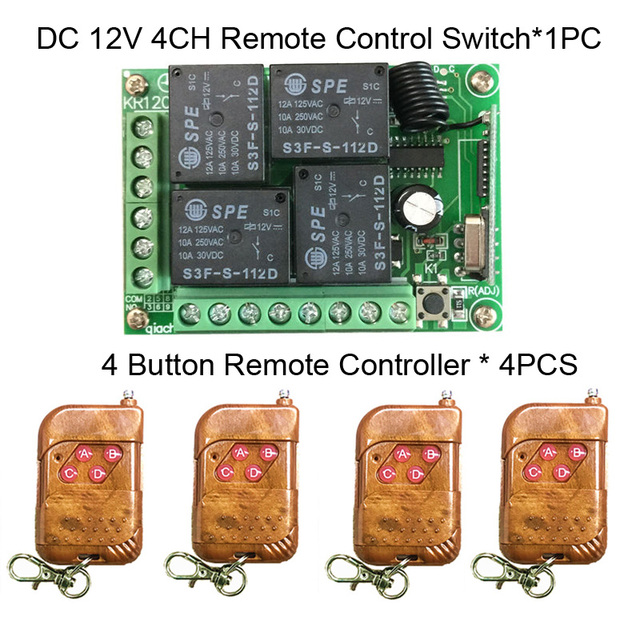 Универсальный беспроводной пульт дистанционного управления, 433 мгц, 12 в постоянного тока, 4 канальный релейный модуль приемника, RF 4 кнопочный светильник, ворота, дистанционное управление гаражом