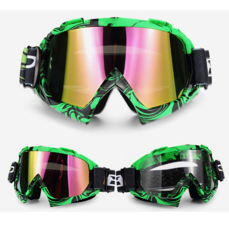 1pc Motorcycle Glasses Ski Snowboard Goggles Windproof Dustproof Anti Fog UV Protection Cycling Racing Eyewear Outdoor Sports L6
