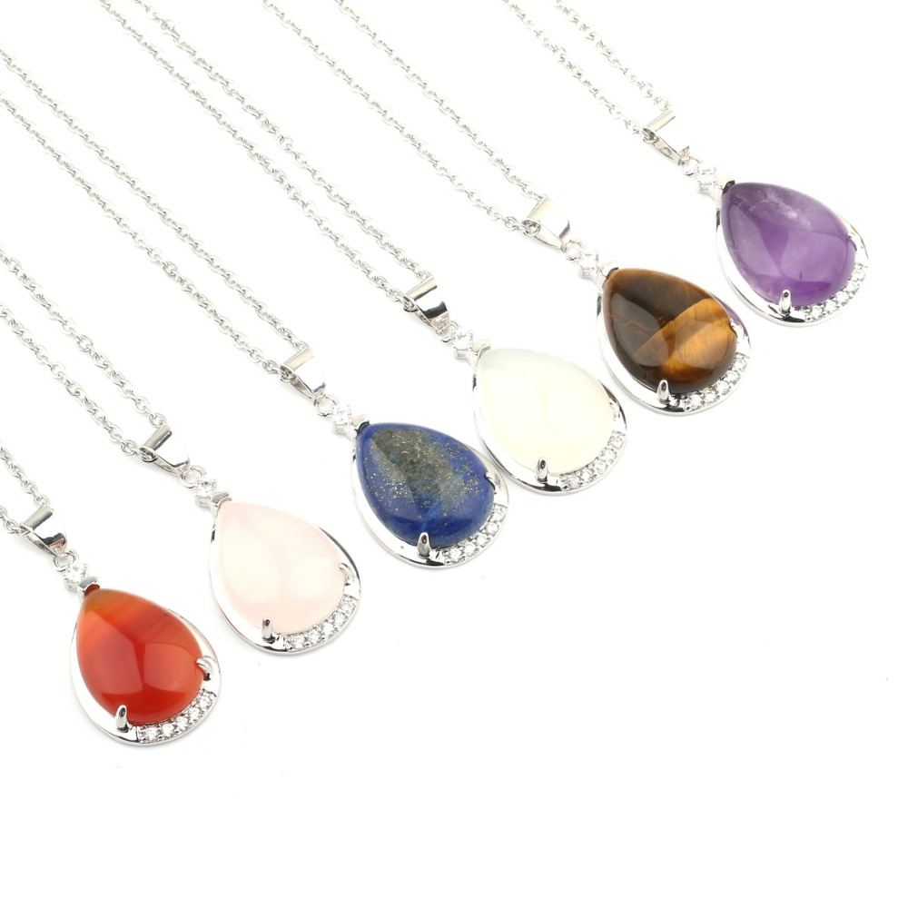 Wholesale Natural Stone Pendant Necklace Jewelry Amethysts Agate Pendant Necklace Alloy Metal Chain Jewelry for Women Gift Box in Pendants from Jewelry Accessories