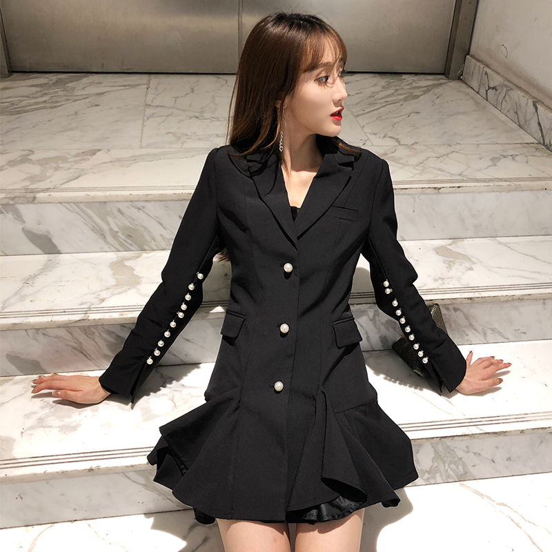 LANMREM 2020 New Spring Fashion Black Blazers Women Long Sleeve Patchwork Ruched Hem Coat Famale Vintage Tide Streetwear PC401