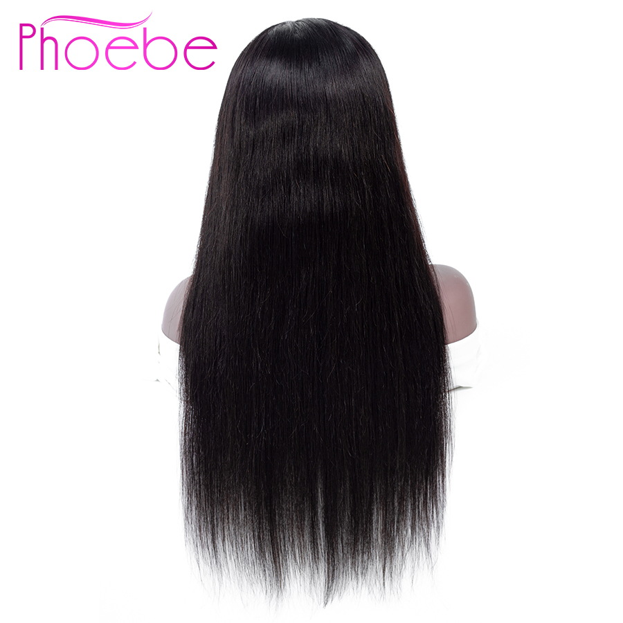 Phoebe 13x4 Lace Front Straight Brazilian 100 Human Hair Wigs 10 26Inches Natural Color Wigs Remy