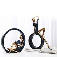 2 pçs resina yoga menina estátua estatuetas nordic artesanato criativo escultura sala de estar tv gabinete decoração para casa ornamentos estátua