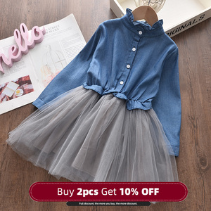 Menoea Girl Denim Dress 2020 Fashion Mesh Dresses Autumn Children Clothing Princess Dress Button 2-8 Years Girl Clothes Dress