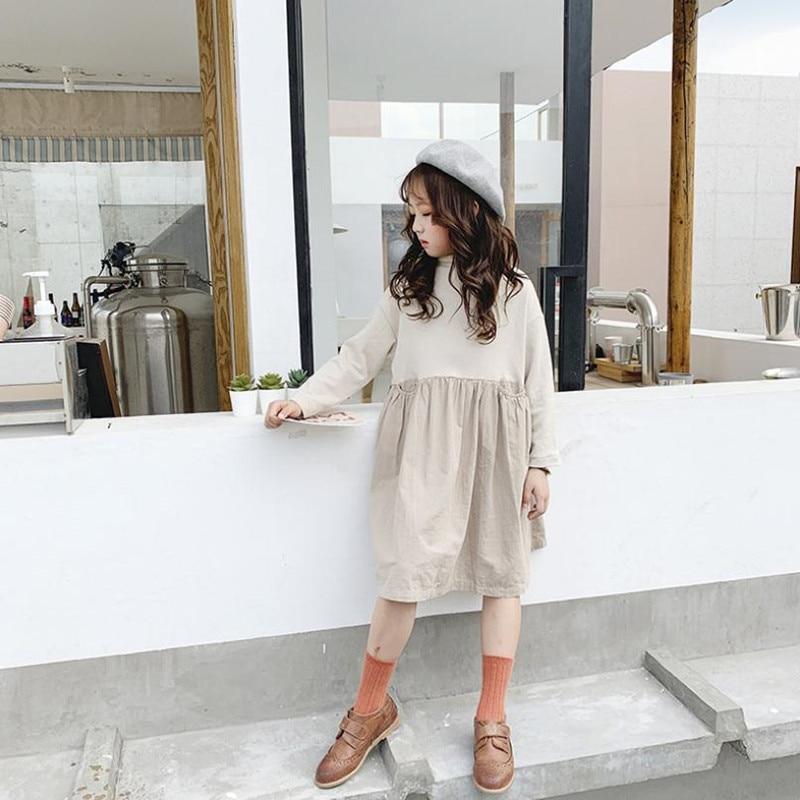 DFXD/Для девочек-подростков; Платье с длинными рукавами Новинка 2020 весенний хлопковый комплект одежды мода с высоким, плотно облегающим шею в...