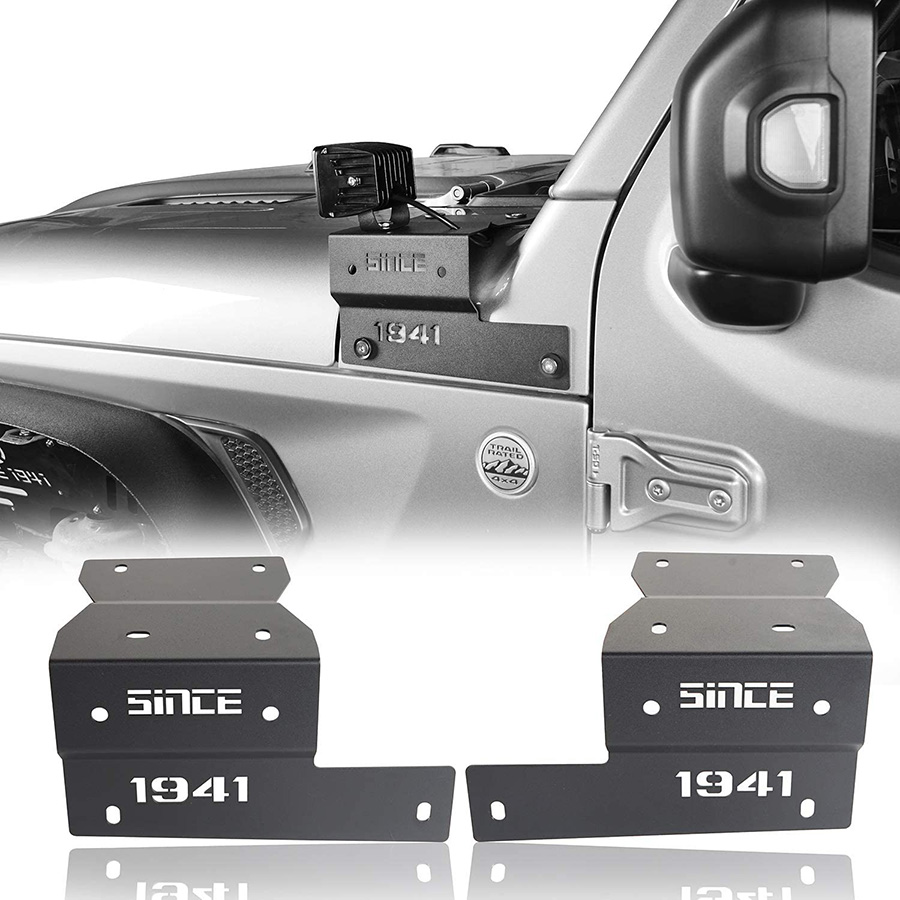 A-pillar Light 1Pair Mount Car Driving Work light Bracket  For Jeep Wrangler JL 2018 Offroad Holder Clamp Auto Styling Hollow