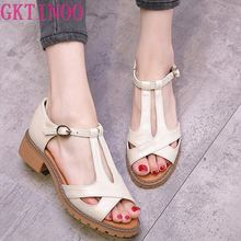 2017 Genuine leather Summer woman sandals new style fashion ladies shoes sandals women summer shoes T1028 hee grand women boots for summer 2017 new solid zipper flat shoes woman split leather shoes woman sandals soft for mom xwz3957