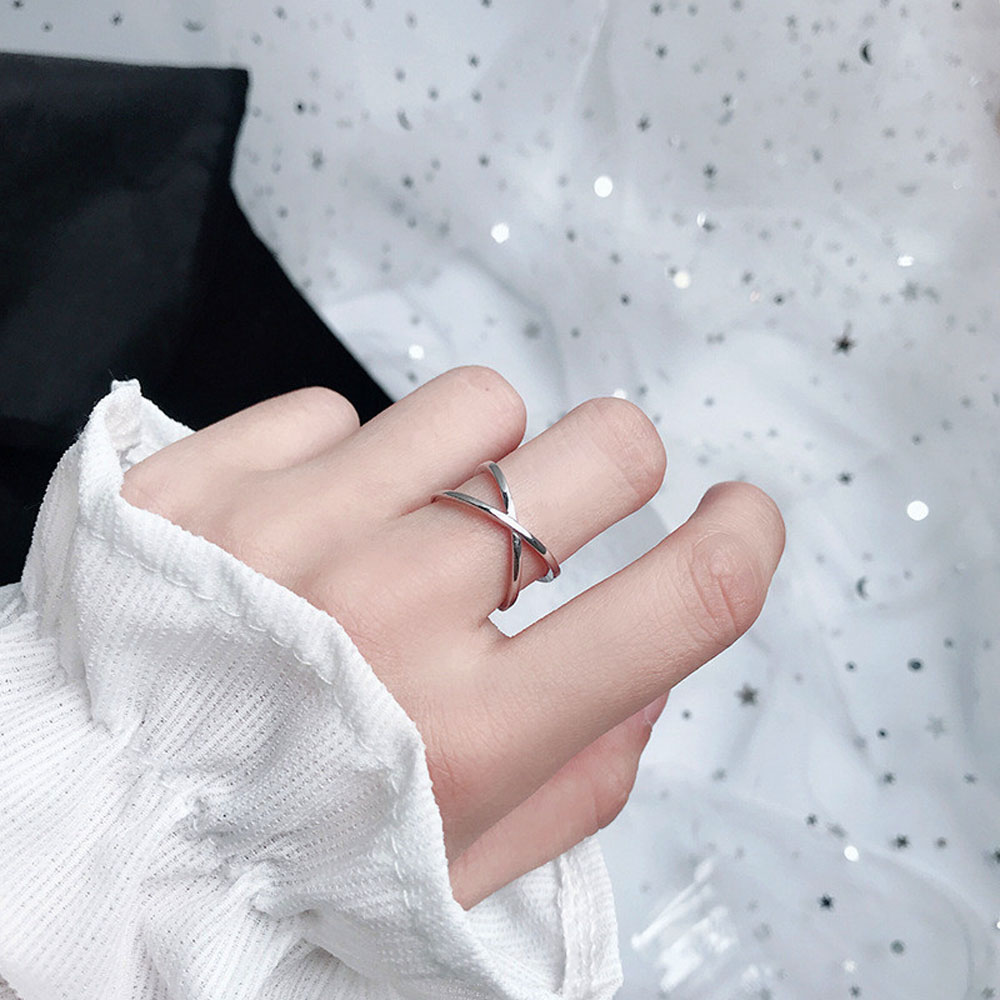 1PC Kreuz Ringe Vintage Doppel Schicht Ringe Trendy Öffnung Reif X-förmigen Ring Frauen Mädchen Party Persönlichkeit Moderne schmuck