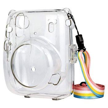 Kryształowy futerał na aparat ochronny przezroczysty futerał z regulowanym paskiem Rainbow do akcesoriów Fujifilm Instax Mini 11 tanie i dobre opinie Greatlizard Waterproof Housing Shell CN (pochodzenie) Zestaw akcesoriów Pakiet 1
