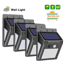 Junejour 30/40 LED Solar Power Lamp PIR Motion Sensor Wall Light Outdoor Waterproof Energy Saving Garden Security Lamp 1/2/4pcs