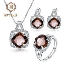 Ensemble de bijoux en Quartz fumé, pour femmes, BALLET, boucles doreilles et pendentif, en argent Sterling 925, pour mariage