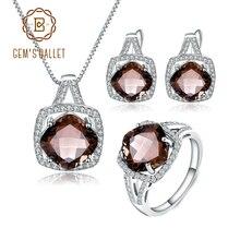 GEMS BALLET Natuurlijke Rookkwarts Sieraden Set Voor Vrouwen Bruiloft 925 Sterling Zilveren Oorbellen Ring Hanger Set Fijne Sieraden