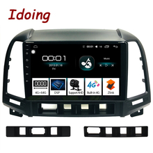 "Idoing 9 ""1Din Android รถวิทยุสเตอริโอมัลติมีเดียเครื่องเล่น Navi GPS สำหรับ Hyundai Santa Fe 2 2006 2012 4G + 64G OCTA Core DSP"