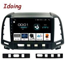 Idoing Radio Multimedia con GPS para coche, Radio con reproductor de Audio estéreo, navegador Navi, 9 pulgadas, 1DIN, Android, para Hyundai Santa Fe 2, 2004 2012, 4G + 64G, Octa Core, DSP