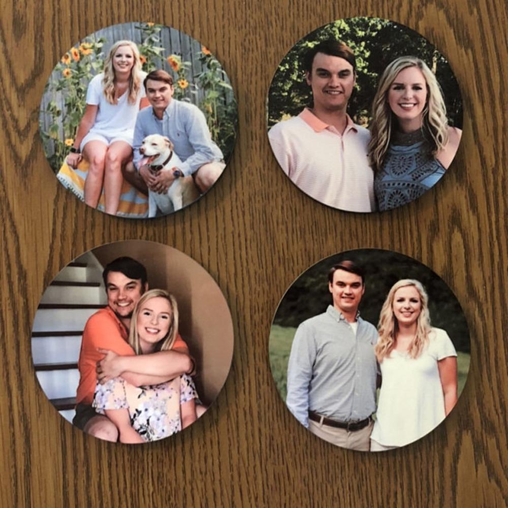 4 pcs Personalized photo coasters custom Weddings Photo Gift set of 4 coasters New Home Gift