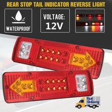 2 pçs 12v 19 led caminhão de reboque do carro traseiro luzes traseiras parar freio por sua vez sinal luz indicadora lâmpada luz traseira caravanas ônibus rv campista