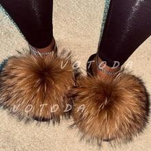 Sommer Frauen Fell Hausschuhe Frau Flauschige Waschbär Fuchs Pelz Rutschen Weibliche Pelzigen Außerhalb Flache Flip Flop Damen Regenbogen Slip Auf sandalen