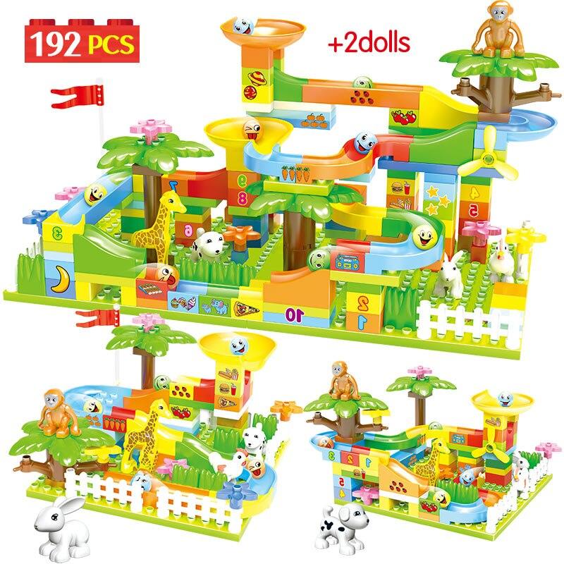 192PCS Creative Marble Race Run Balls Track Building Blocks Legoing Duploed Big Jungle Slides Figures Bricks Toys For Children