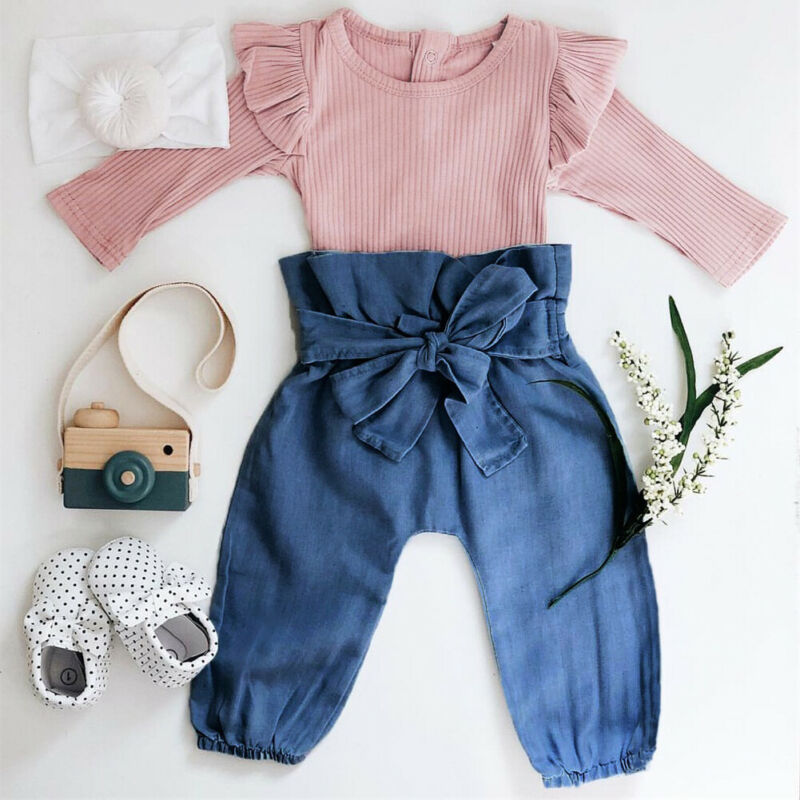 2PCS Imcute Newborn Baby Girl Pink Knitted Clothes Long Sleeve Romper Top + Pants Trousers Clothes Newborn Outfit Clothing Set