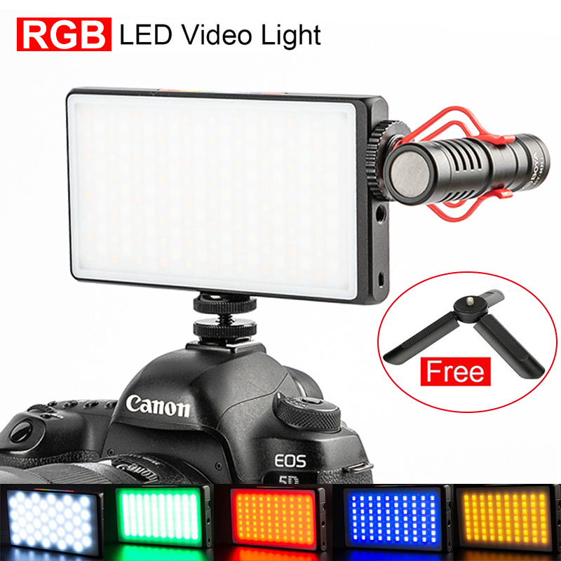Dimmable RGB LED Video Light Extend Cold Shoe for Microphone DSLR Light Photography Lighting|Photographic Lighting| |  - title=