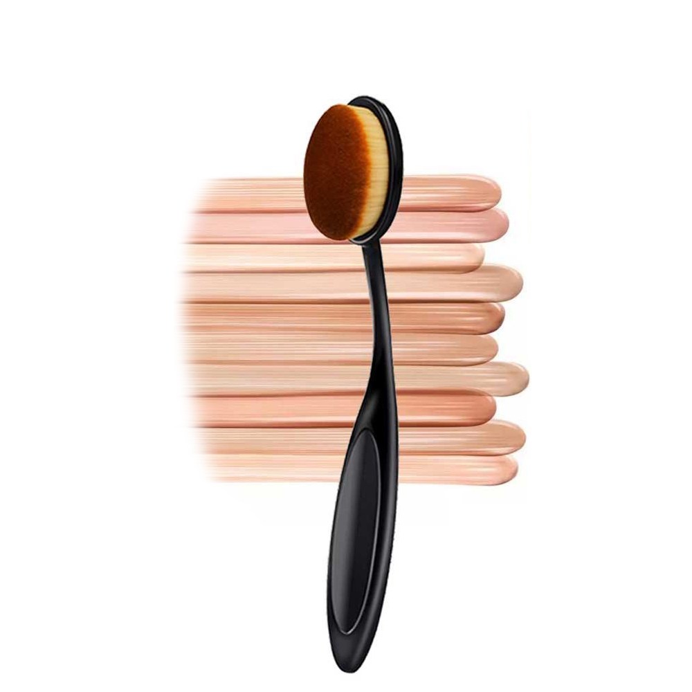 Makeup Brushes Synthetic Hair Soft Oval Shape 360 Degree Makeup Toothbrush Foundation Brush with Handle Cosmetic Tools image