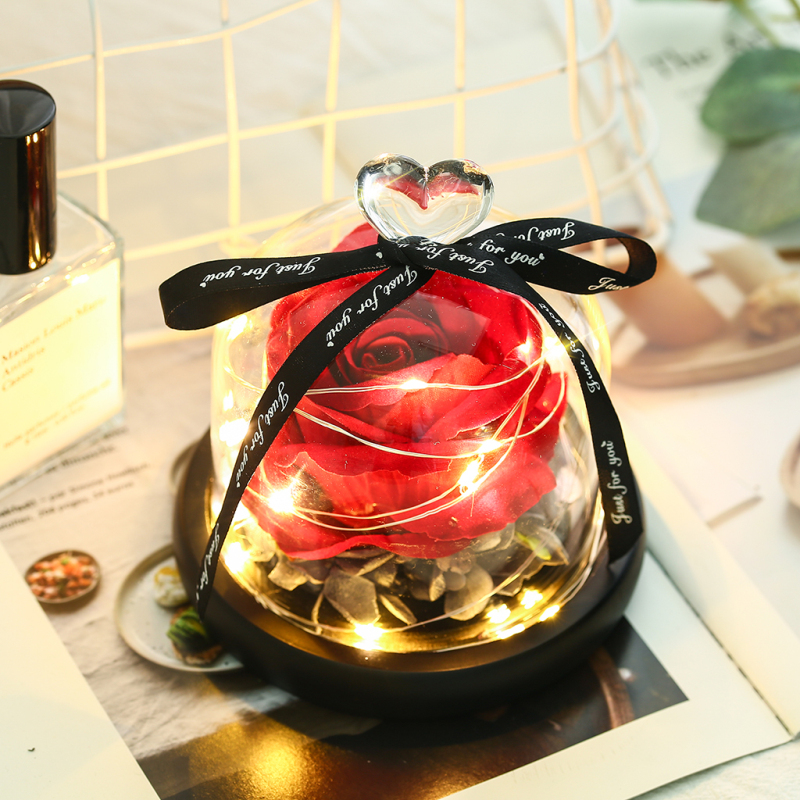 Rose Preserved Glass Love-Glass-Cover Romantic Gift Dome-Forever Valentine's-Day-Gift title=