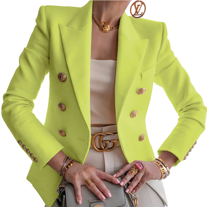 New Designer Yellow Blazers Women Classic Silver Double-breasted Button Slim Work Office Lady Formal Plus Big Size Women Blazers