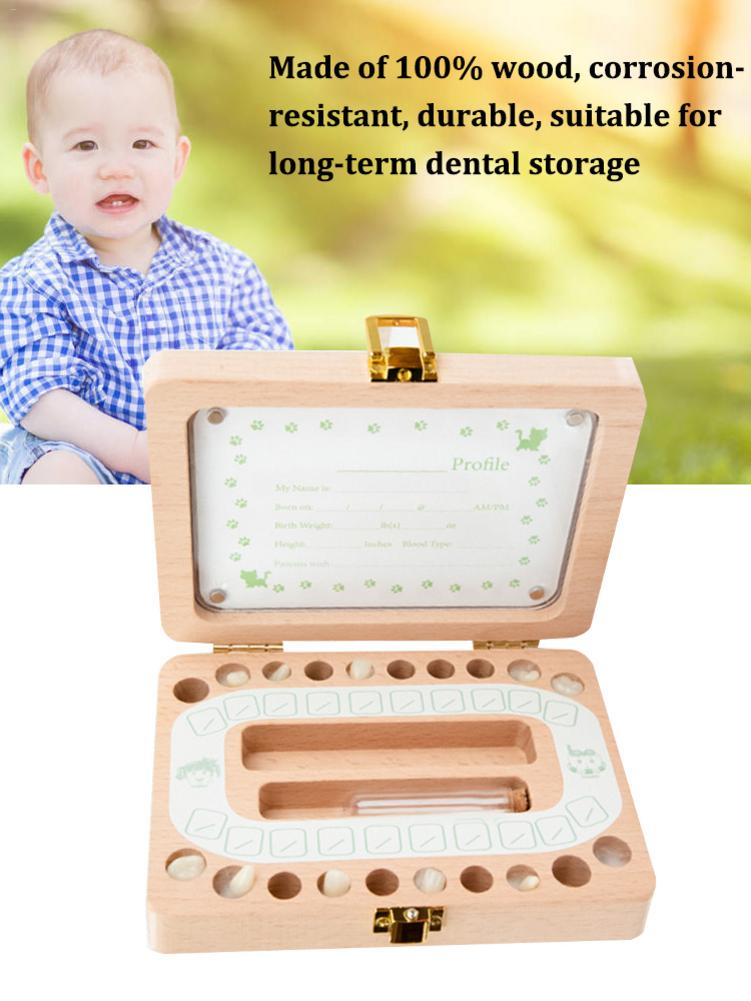 Wooden Photo Frame Baby Baby Hair Deciduous Box Children English Baby Hair Storage Box Baby Growth Commemorative Gift