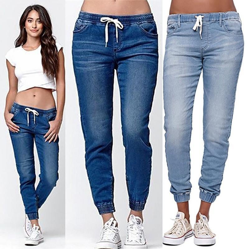 Jeans Women 2021 Drawstring High Waist Stretch Ripped Hole Jeans Fashion Denim Full Length Pencil Pants