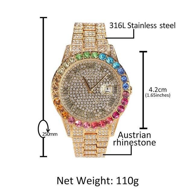 Reloj de cuarzo de acero inoxidable para hombre, cadena de eslabones de tenis, conjunto de 3 uds., joyería de Hip Hop 5