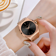 купить Luxury Brand Women Rose Gold Watch Ladies Simple Casual Quartz Wristwatches Stainless Steel Waterproof Clock Women montre femme по цене 1171.71 рублей