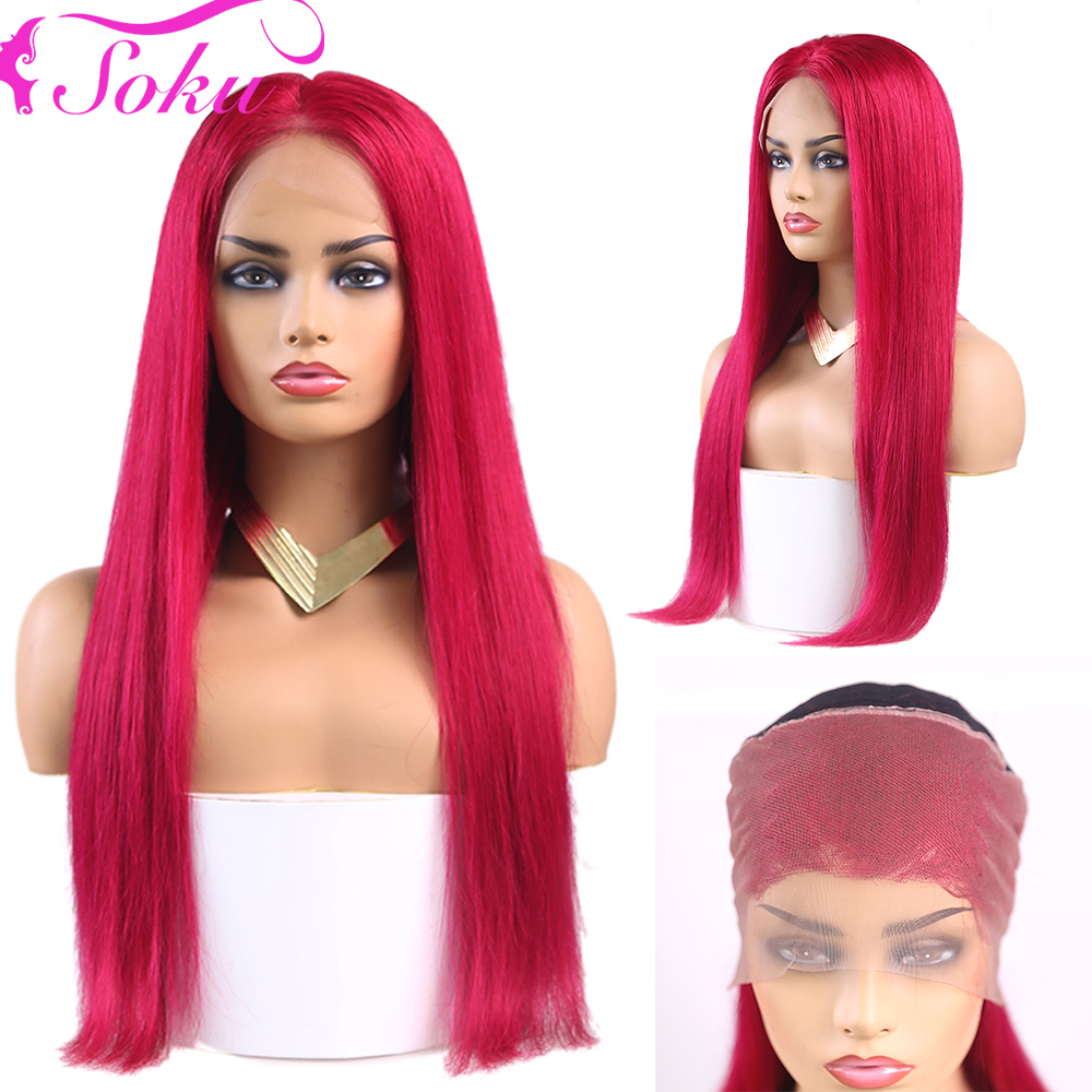 13x4 Lace Frontal Wig 99J/Burgundy Red Color Brazilian Straight Human Hair Lace Wig For African American Women SOKU Remy Hair