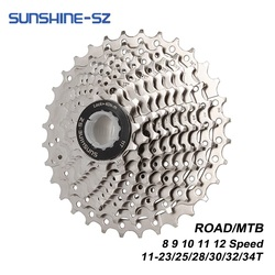 SUNSHINE Road Bike 8 9 10 11 12 Speed Velocidade 11-23T/25T/28T/30T/32T/34T Bicycle Cassette Freewheel MTB Sprocket for SHIMANO