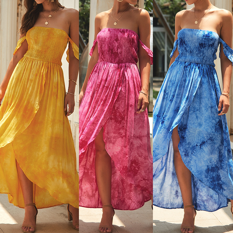 Sexy Women Off Shoulder <font><b>Dress</b></font> Fresh Print Short Sleeve Ruffle Slim A-Line Mini Boho <font><b>Dress</b></font> Women's Summer Sundress 2019 image