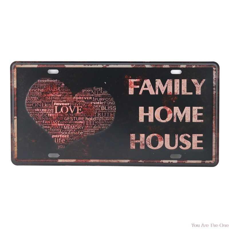 초라한 금속 주석 징후 사랑의 꿈 행복 내 집에 오신 것을 환영합니다 철판 금속 그림 벽 장식 보드 레트로 펍 재미 있은 바