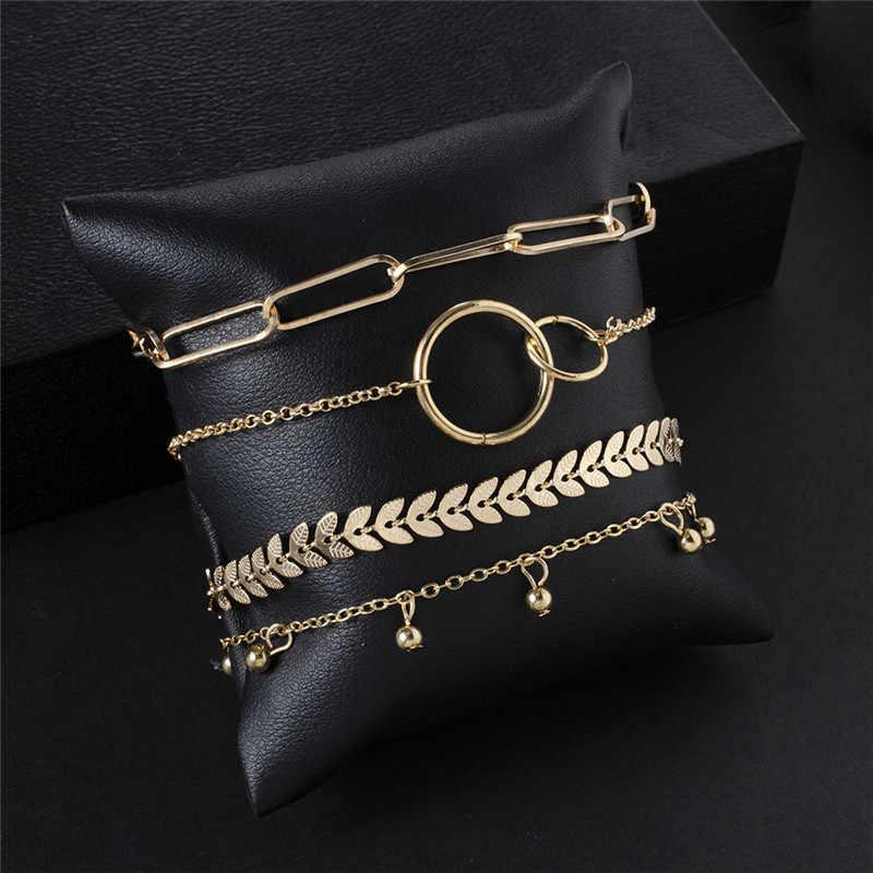 Modyle Bohemian Eenvoudige Gouden Kleur Metalen Armband Set Voor Vrouwen Punk Vintage Armbanden Armbanden Sieraden Gift