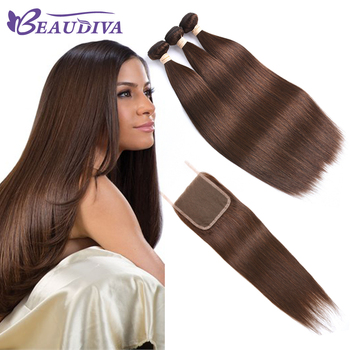 BEAUDIVA Pre-Colored Human Hair Weave with Closure 4*4 Three Bundles with Closure 2# 4# Dark Brown Brazilian Straight Human Hair