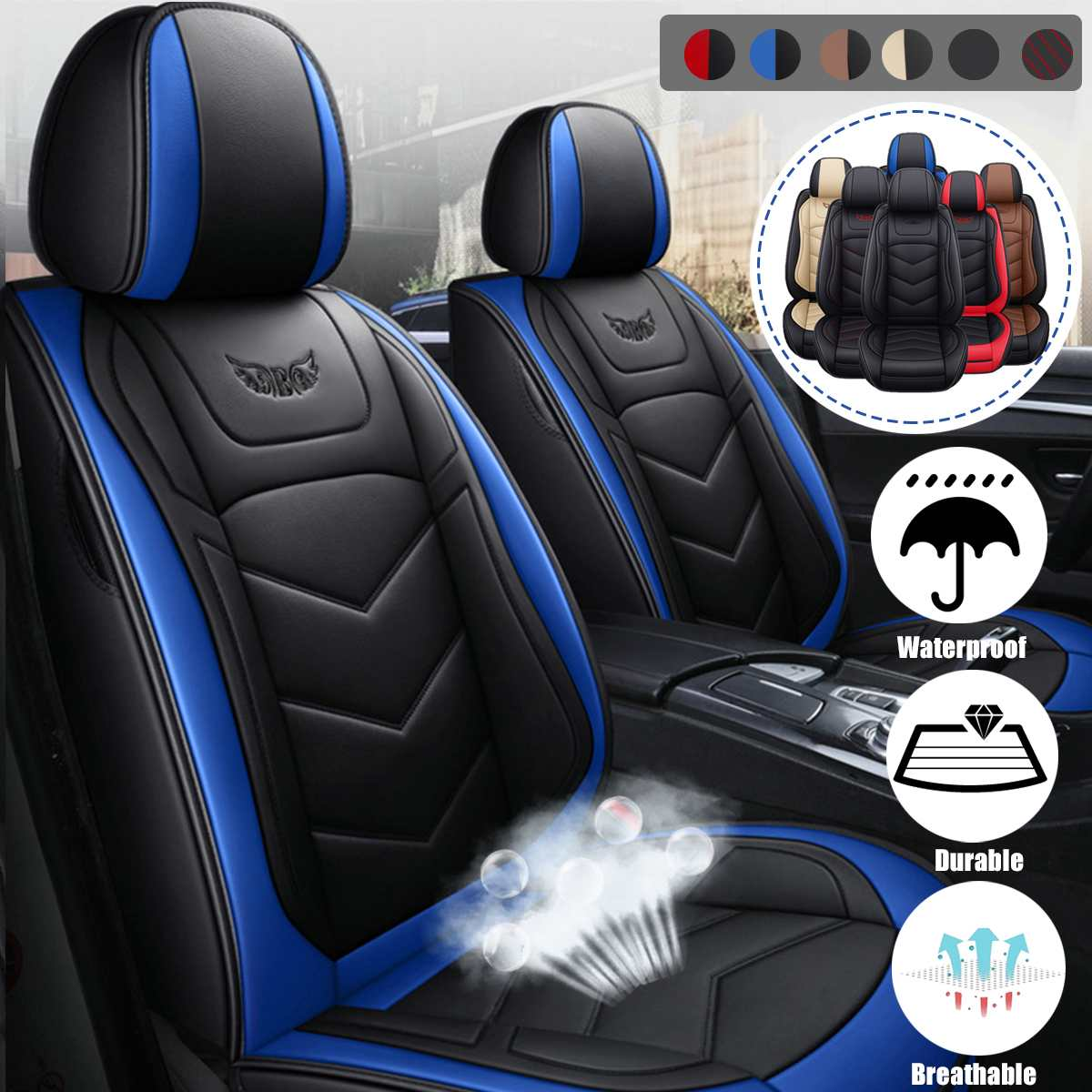 6 Colors Luxury Leather Auto Car Seat Cover Set 5 Seats Full Set Covers Cushion Universal Fits for Most Sedan SUV Small Truck