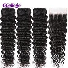 עמוק גל חבילות עם סגירה ברזילאי שיער Weave 4 יח\חבילה 100% שיער טבעי חבילות עם סגר ללא רמי הארכת שיער