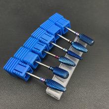 Сверло из голубого карбида вольфрама с нано покрытием для ногтей, металлические сверла для маникюра, аксессуары для ногтей, стоматологический карбидный Бур