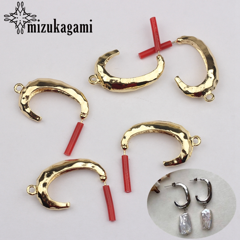 Zinc Alloy Golden Simple C Shape Earrings Base Earrings Connector 6pcs/lot For DIY Fashion Earrings Making Accessories