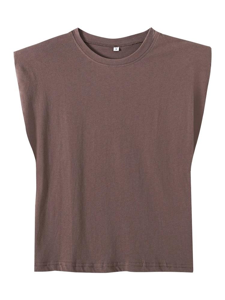 2020 Women za Fashion Solid 95% Cotton Shoulder pad T-shirt Vintage O-Neck Sleeveless Tops Casual Girls Streetwear 15