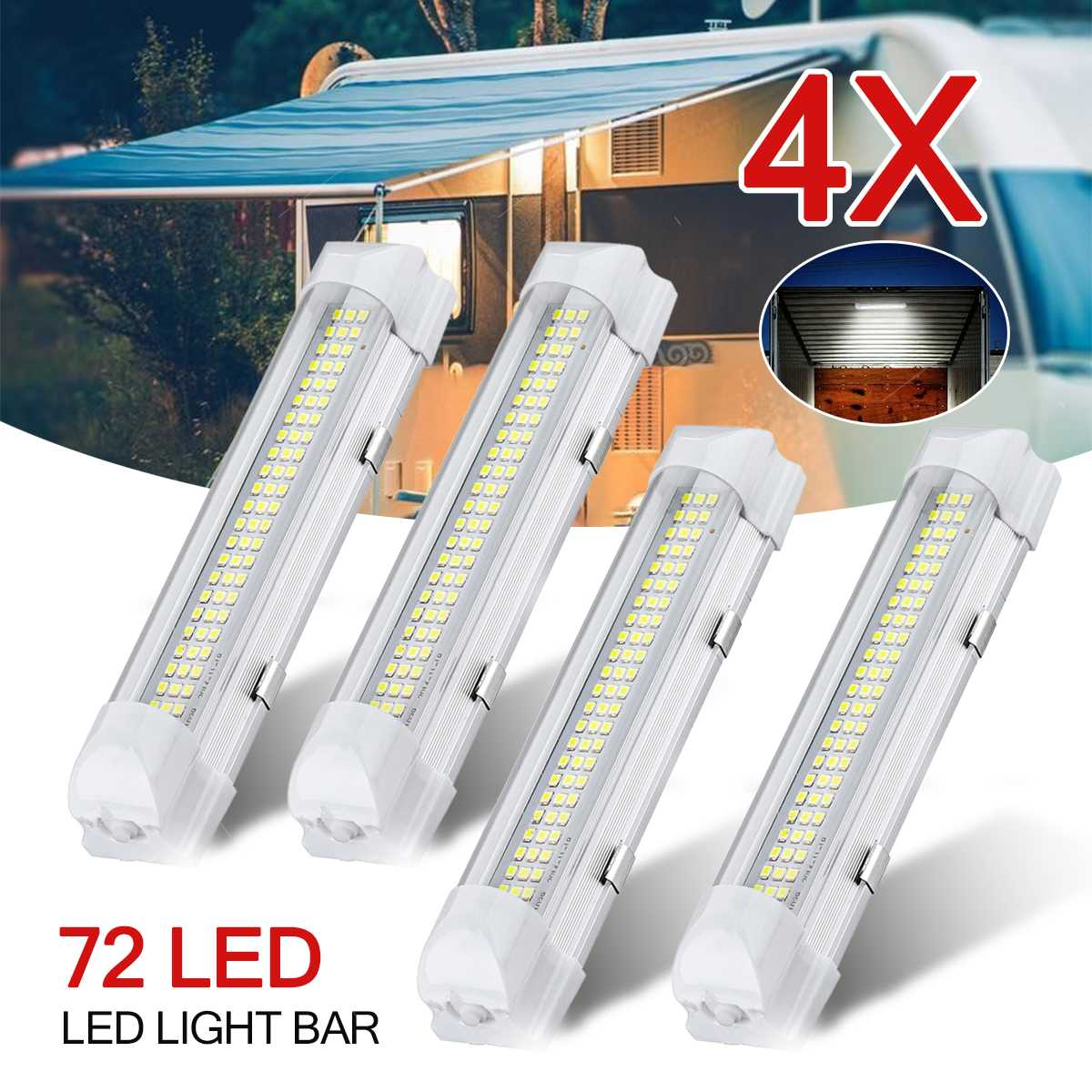4X <font><b>12</b></font> - <font><b>80V</b></font> 72 <font><b>LED</b></font> Car Interior Inside Roof Top RV Light Lights Lamp Bar Strip With Switch Universal For Car Truck Lorry image