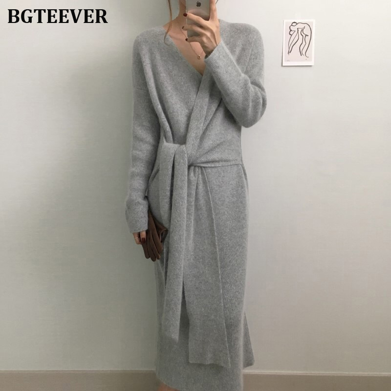 BGTEEVER Elegant Bandage Women Sweater Dress Autumn Winter Bodycon Female Knitted Party Dresses Slim Long Vestidos Femme 2019