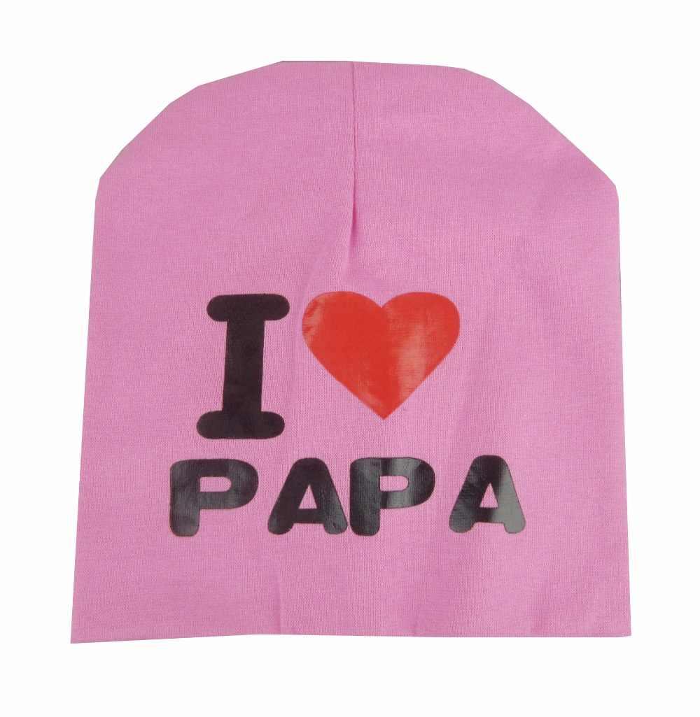 เด็กฤดูร้อนหมวกปรับผ้าฝ้าย Letter I Love DAD MUM หมวกสำหรับเด็ก