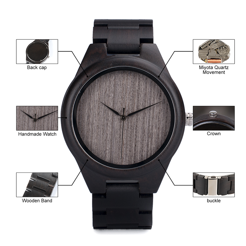 Image 5 - BOBO BIRD Wood Watch relogio masculino Men Ebony Shells Leather Strap Quartz Wristwatches Christmas Gift Best Gift in Sales DealQuartz Watches   -