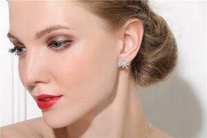 Image 5 - SLJELY 925 Sterling Silver 2 Colors Asymmetrical Star Fine Earrings Micro Cubic Zirconia Stones Women Luxury Brand Jewelry