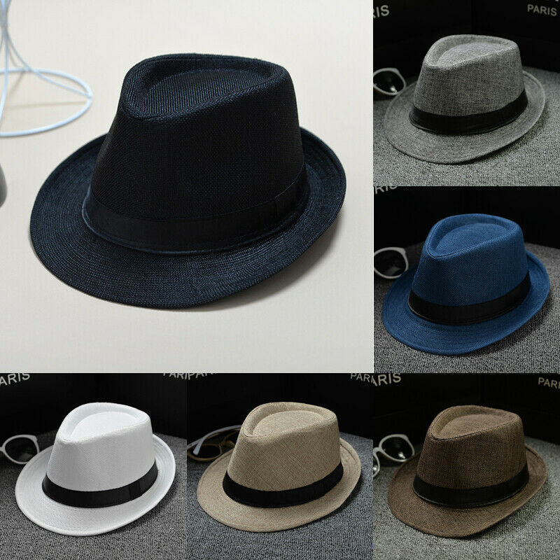 Unisex Straw Fedora Sun Hat Panama Trilby Crushable Men Women Foldable Travel With Black Belt Hot Sales Cap Dropshipping