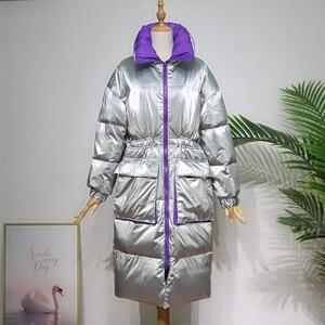 Image 4 - FTLZZ 새 겨울 자켓 여성 화이트 오리 파커 스 여성 스탠드 칼라 Thicken Warm Coat 실버 블랙 스노우 다운 아웃웨어